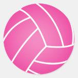 Bola rosada del water polo etiquetas redondas