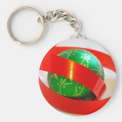 Bola verde, artículos rojos del regalo de la cinta llavero