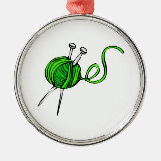 Bola verde del hilado ornamento para arbol de navidad