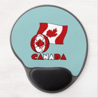 Bola y bandera canadienses de fútbol alfombrilla de ratón con gel