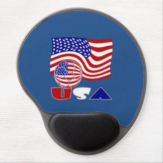 Bola y bandera de fútbol de los E.E.U.U. Alfombrilla Con Gel