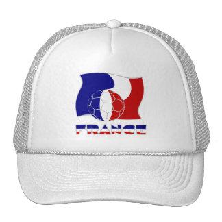 Bola y bandera francesas de fútbol gorras de camionero