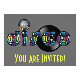 Bola y disco de vinilo reflejados baile del disco invitaciones personalizada
