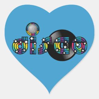 Bola y disco de vinilo reflejados baile del disco pegatina en forma de corazón