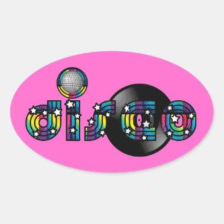 Bola y disco de vinilo reflejados baile del disco pegatina ovalada
