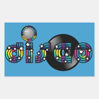 Bola y disco de vinilo reflejados baile del disco pegatina rectangular