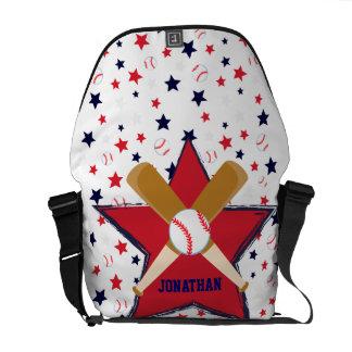 Bola y estrellas personalizadas de bates de béisbo bolsa messenger