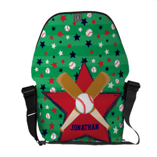 Bola y estrellas personalizadas de bates de béisbo bolsa de mensajeria