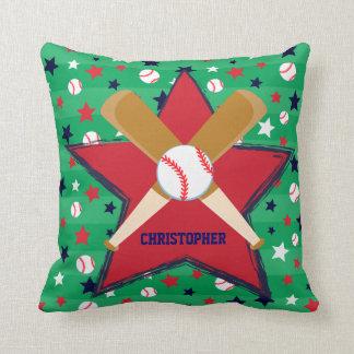 Bola y estrellas personalizadas de bates de béisbo almohadas