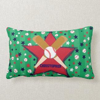 Bola y estrellas personalizadas de bates de béisbo cojines