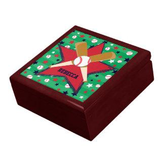 Bola y estrellas personalizadas de bates de béisbo cajas de recuerdo
