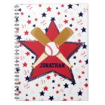 Bola y estrellas personalizadas de bates de béisbo cuadernos