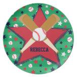 Bola y estrellas personalizadas de bates de béisbo platos de comidas
