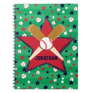 Bola y estrellas personalizadas de bates de libro de apuntes con espiral