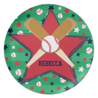 Bola y estrellas personalizadas de bates de plato