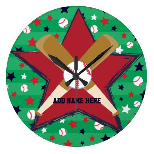 Bola y estrellas personalizadas de bates de reloj redondo grande