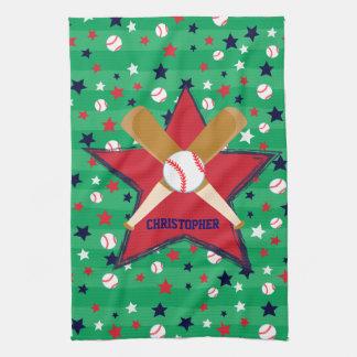 Bola y estrellas personalizadas de bates de toallas de cocina