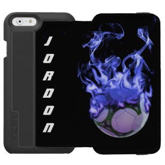 Bola y humo de fútbol de las llamas azules funda cartera para iPhone 6 watson