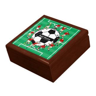 Bola y jugadores personalizados de fútbol cajas de recuerdo