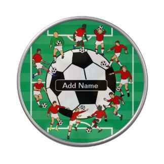 Bola y jugadores personalizados de fútbol latas de caramelos