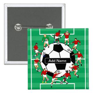 Bola y jugadores personalizados de fútbol pin cuadrado