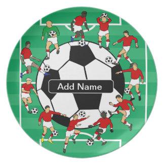 Bola y jugadores personalizados de fútbol plato para fiesta