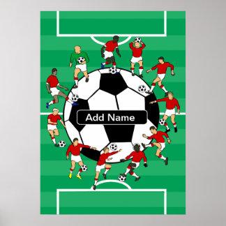 Bola y jugadores personalizados de fútbol póster