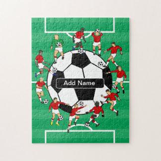 Bola y jugadores personalizados de fútbol puzzle con fotos