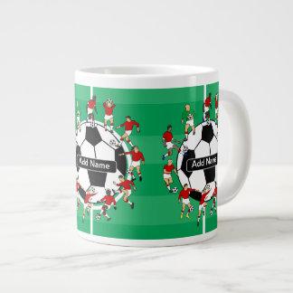 Bola y jugadores personalizados de fútbol taza grande