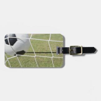 Bola y meta de fútbol etiqueta para maleta