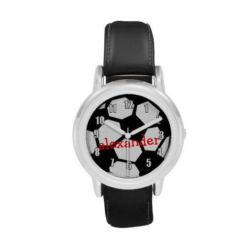 Bola y nombre de fútbol negra reloj de mano