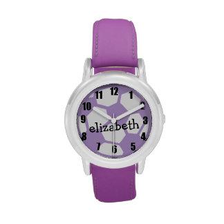 Bola y nombre de fútbol púrpura reloj de mano