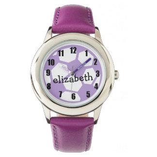 Bola y nombre de fútbol púrpura relojes de mano