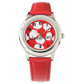 Bola y nombre de fútbol roja relojes de pulsera