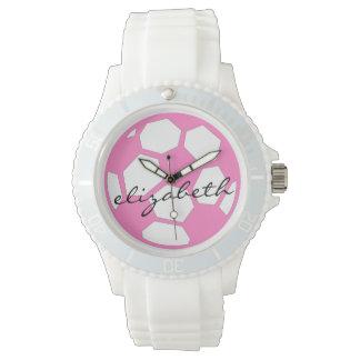 Bola y nombre de fútbol rosada reloj
