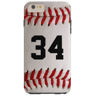 Bola y número del béisbol funda de iPhone 6 plus tough