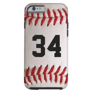 Bola y número del béisbol funda de iPhone 6 tough