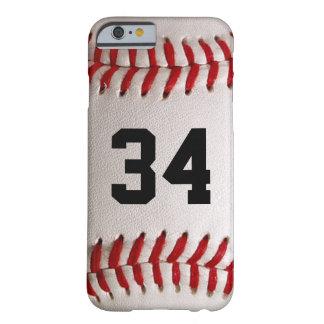 Bola y número del béisbol funda para iPhone 6 barely there