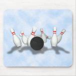 Bola y pernos de bolos: modelo 3D: Mousepad Tapete De Ratones