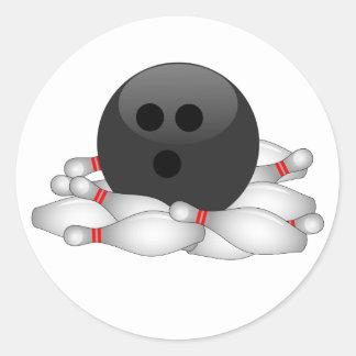 Bola y pernos de bolos pegatina redonda