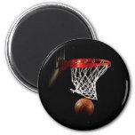 Bola y red del baloncesto iman de frigorífico
