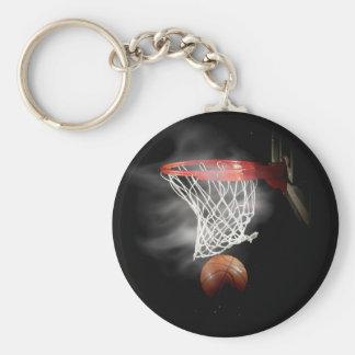 Bola y red del baloncesto llavero redondo tipo pin