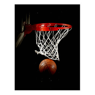 Bola y red del baloncesto tarjeta postal