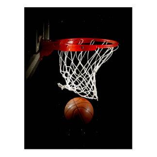 Bola y red del baloncesto tarjetas postales