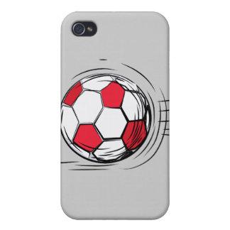 Bola y regalos rojos de fútbol iPhone 4 carcasas