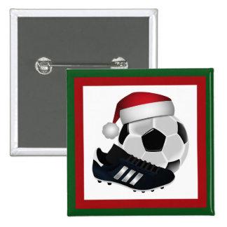 Bola y zapato de fútbol del navidad pin cuadrado