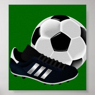 Bola y zapato de fútbol posters