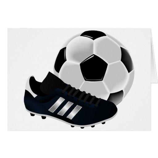 Bola y zapato de fútbol tarjeta de felicitación