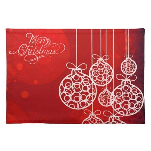 Bolas 4 de las Felices Navidad Mantel Individual
