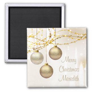 Bolas adornadas del navidad de la plata y del oro imán